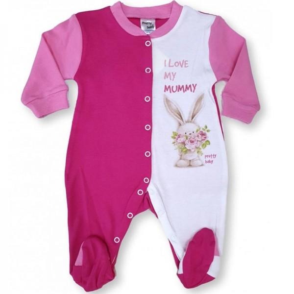 Φορμάκι βρεφικό κοριτσιού ροζ λευκό με σχέδιο λαγουδάκι Pretty Baby