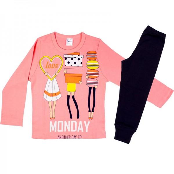 Πυζάμα παιδική κοριτσιού χειμερινή με σχέδιο Monday Shopping, βαμβακερή 100% ΡΟΖ-ΜΑΡΙΝ