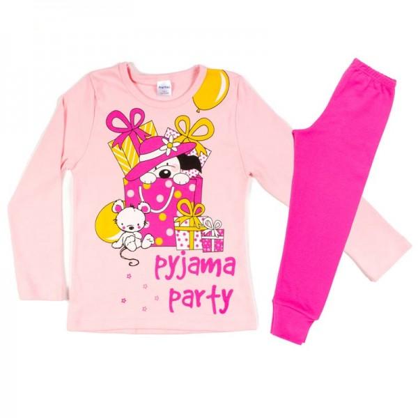 Πυζάμα παιδική κοριτσιού χειμερινή με σχέδιο ζωάκια Pyjama Party, βαμβακερή 100% ΡΟΖ-ΦΟΥΞΙΑ