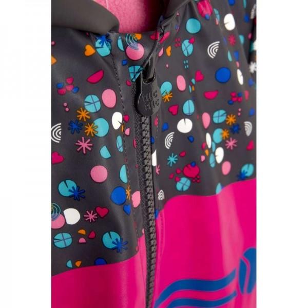 Αδιάβροχο Μπουφάν κοριτσιού φούξια ροζ με κουκούλα και επένδυση fleece Kokeshi Τuc Τuc