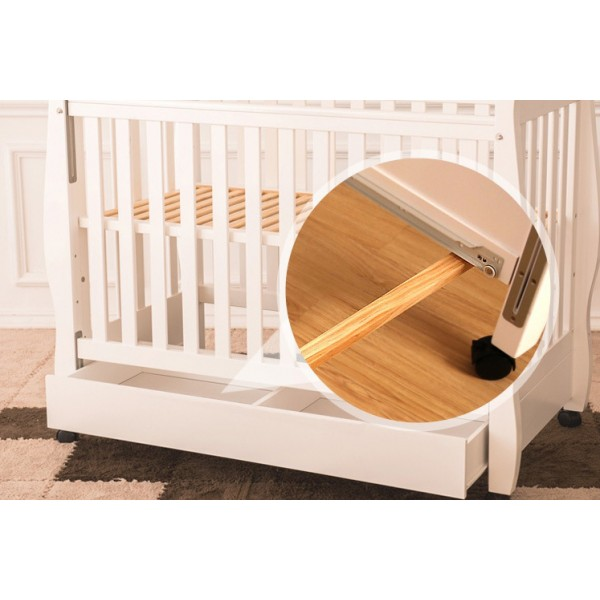 Κούνια μωρού με συρτάρια ξύλινη λευκή