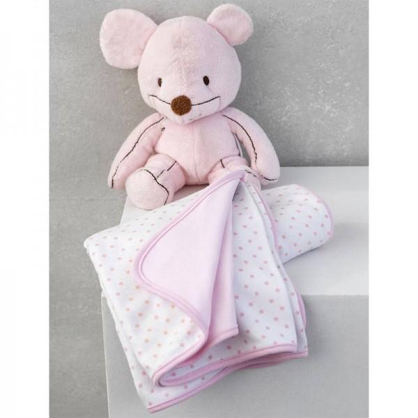 Κουβέρτα Διπλής Όψης Ροζ New Baby 75x100cm