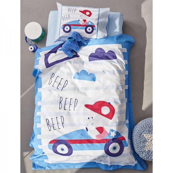 Σετ Σεντόνια Κούνιας Happy Baby 120x160 Γαλάζιο με σχέδιο Αυτοκινητάκι