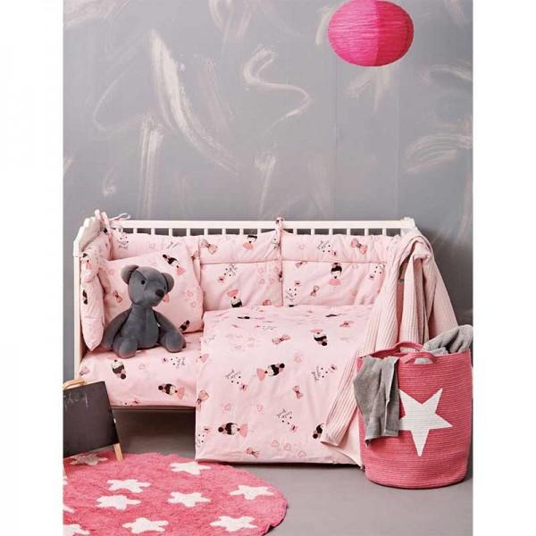 Σετ Σεντόνια Κούνιας My Kingdom 130x170 Ροζ με Σχέδιο Κοριτσάκια