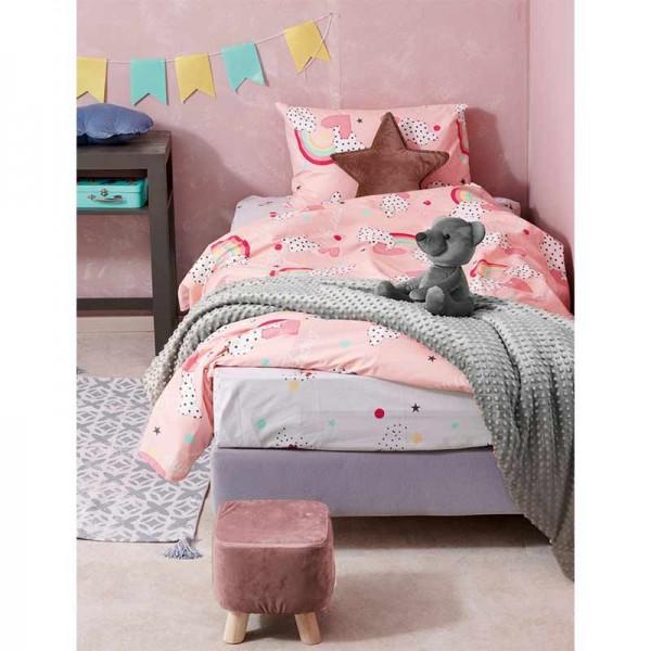 Σετ Σεντόνια My Kingdom MK721 ροζ με σχέδιο ουράνιο τόξο 170X260
