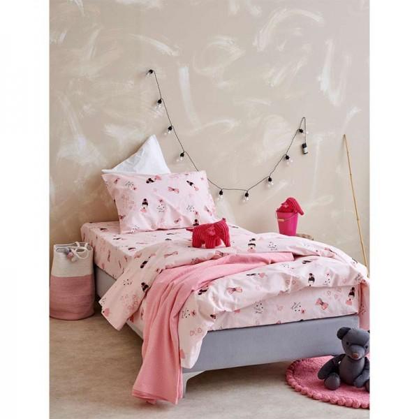 Σετ Σεντόνια My Kingdom MK0723 Ροζ με σχέδιο κοριτσάκια και φιογκάκια 160x260