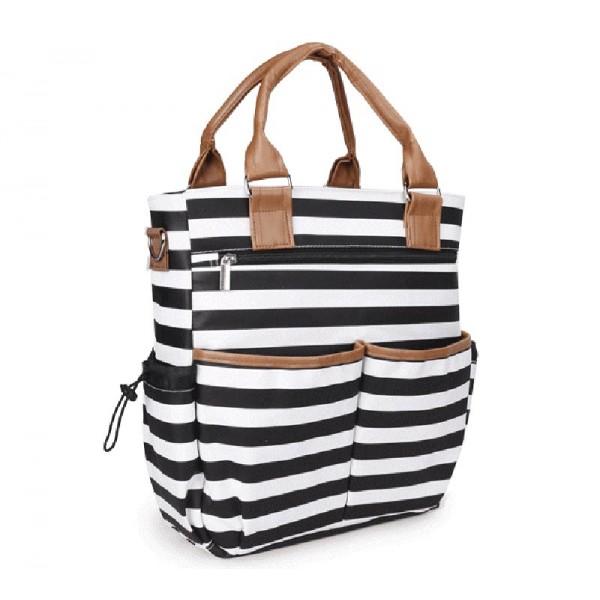 Τσάντα μωρού ώμου ριγέ άσπρο-μαύρο