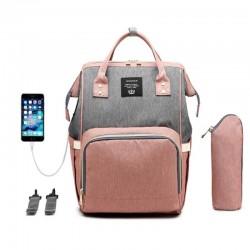 Τσάντα μωρού πλάτης ροζ-γκρι με usb Lequeen