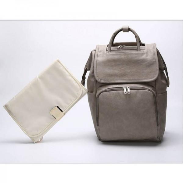 Δερμάτινη τσάντα πλάτης γκρί