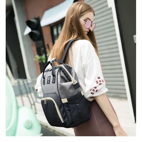 Τσάντα μωρού πλάτης μαύρο-γκρί new collection