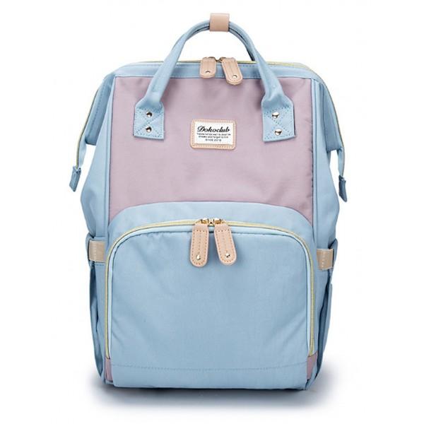 Τσάντα μωρού πλάτης γαλάζιο-μωβ με δέρμα