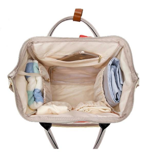 Τσάντα μωρού πλάτης μπλε μπεζ με δέρμα