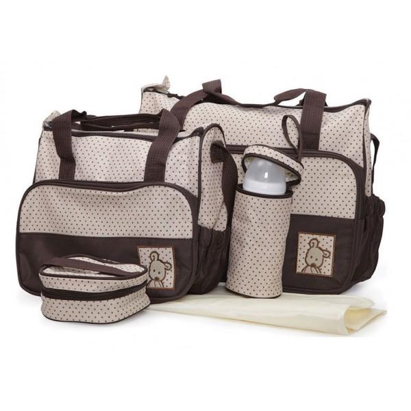 Σετ τσάντα μωρού αλλαξιέρα καφέ μπεζ