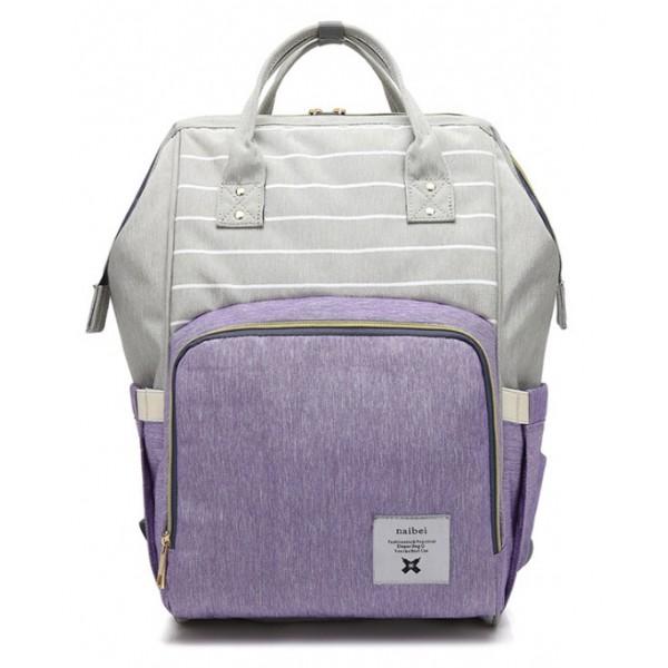 Τσάντα μωρού πλάτης γκρι - μοβ