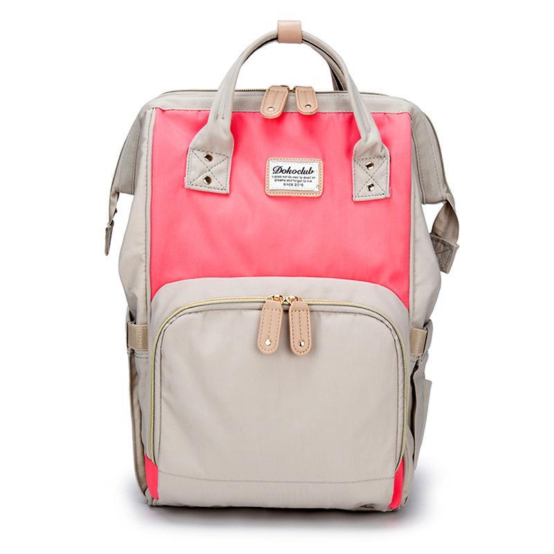 4c139bf37e Τσάντα μωρού πλάτης μπεζ-ροζ με δέρμα